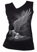 Angel Gathered Shoulder Slant Vest