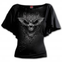Bat Skull Boat Neck Bat Sleeve Top 1