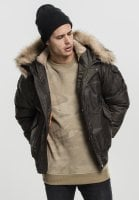 Hooded Heavy Fake Fur Bomber Jacket darkolive