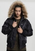 Hooded Heavy Fake Fur Bomber Jacket black