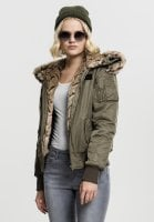 Bomber jacket with fur oliv