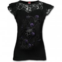 Entwined Skull lace layered cap sleeve top