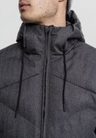 Heringbone Hooded Winter Jacket neck