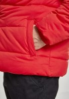 Hooded 2-Tone Puffer Jacket red black