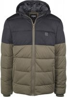 Hooded 2-Tone Puffer Jacket olive