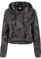 Ladies Camo Cropped Hoody front
