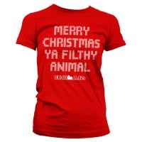 Merry christmas ya filthy animal dame T-shirt 1
