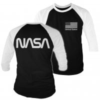 NASA black flag 3/4 baseball tee.