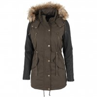 Ladies Leather Imitation Sleeve Parka Jacka Oliv 3