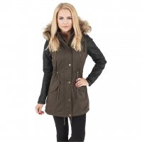 Ladies Leather Imitation Sleeve Parka Jacka Oliv