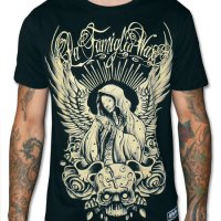 Angels pray svart wax t-shirt 3