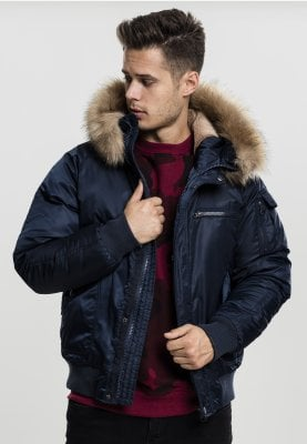 Hooded Heavy Fake Fur Bomber Jacket