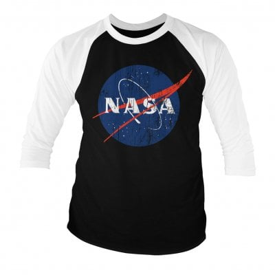 NASA washed logo baseball tee 3/4 sleeve