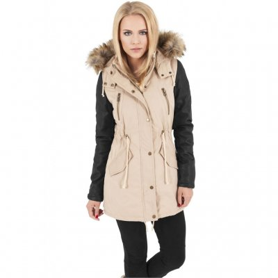Ladies Leather Imitation Sleeve Parka Jacka Sand
