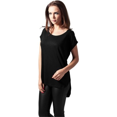 Ladies Long Back Shaped Slub Tee