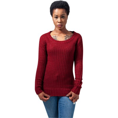 Wideneck sweater lång modell burgundy