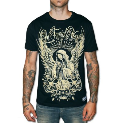 Angels pray svart wax t-shirt