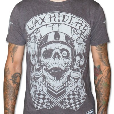WAX Riders grå t-shirt närbild