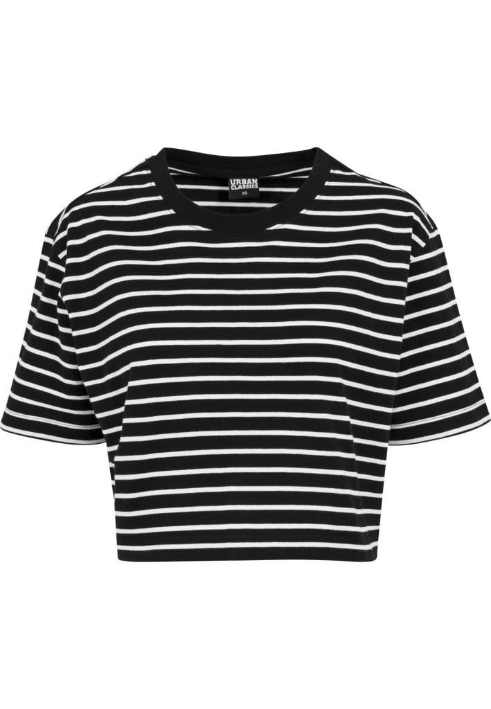 Kort stripet t shirt overdimensioneret dam T shirts